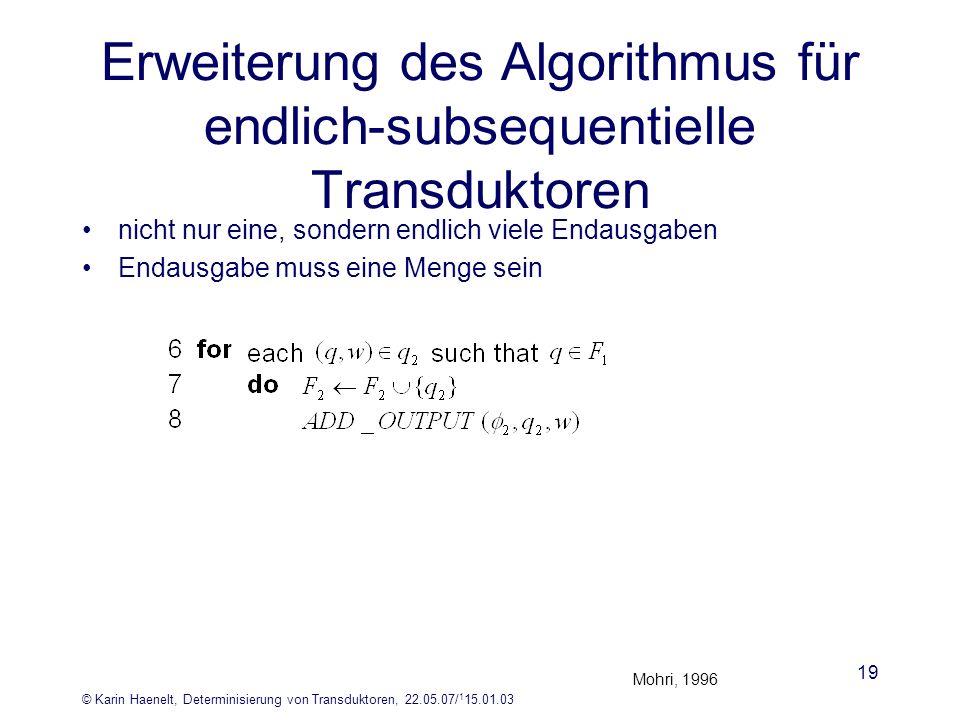 Erweiterung des Algorithmus für endlich-subsequentielle Transduktoren