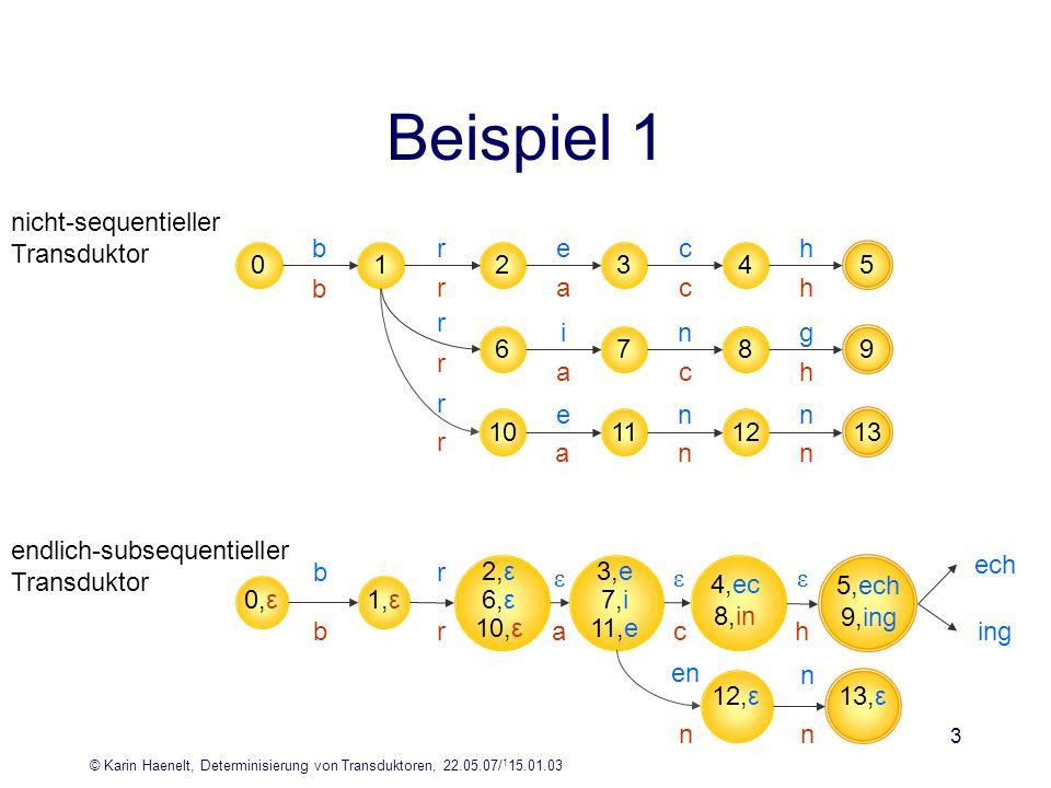 Beispiel 1 nicht-sequentieller Transduktor b r e c h 1 2 3 4 5 b r a c
