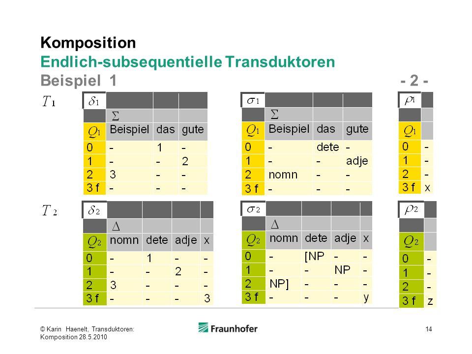 Komposition Endlich-subsequentielle Transduktoren Beispiel 1 - 2 -