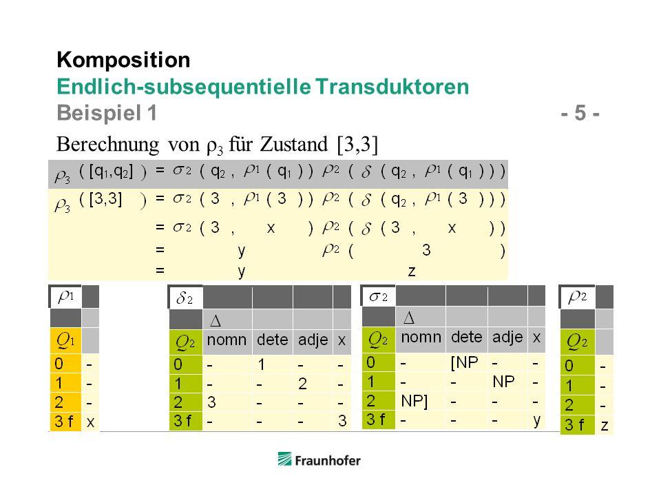 Komposition Endlich-subsequentielle Transduktoren Beispiel 1 - 5 -