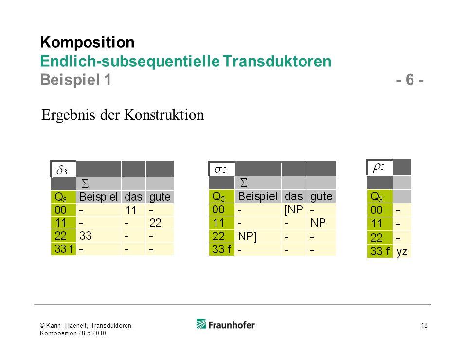 Komposition Endlich-subsequentielle Transduktoren Beispiel 1 - 6 -