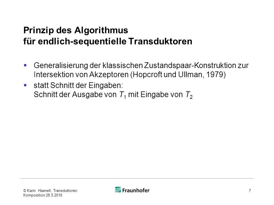 Prinzip des Algorithmus für endlich-sequentielle Transduktoren