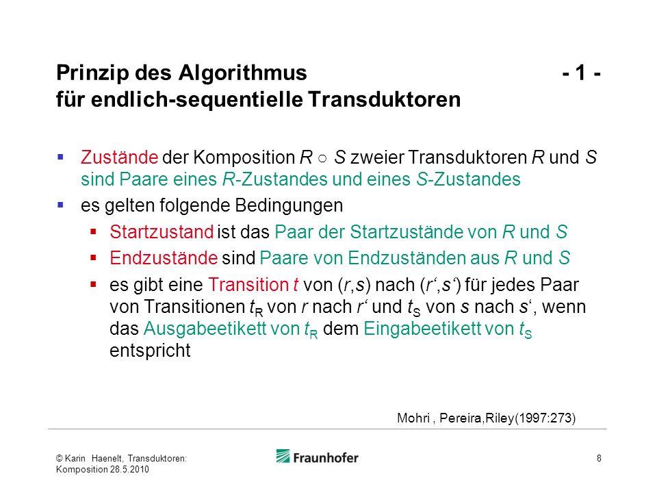 Prinzip des Algorithmus - 1 - für endlich-sequentielle Transduktoren