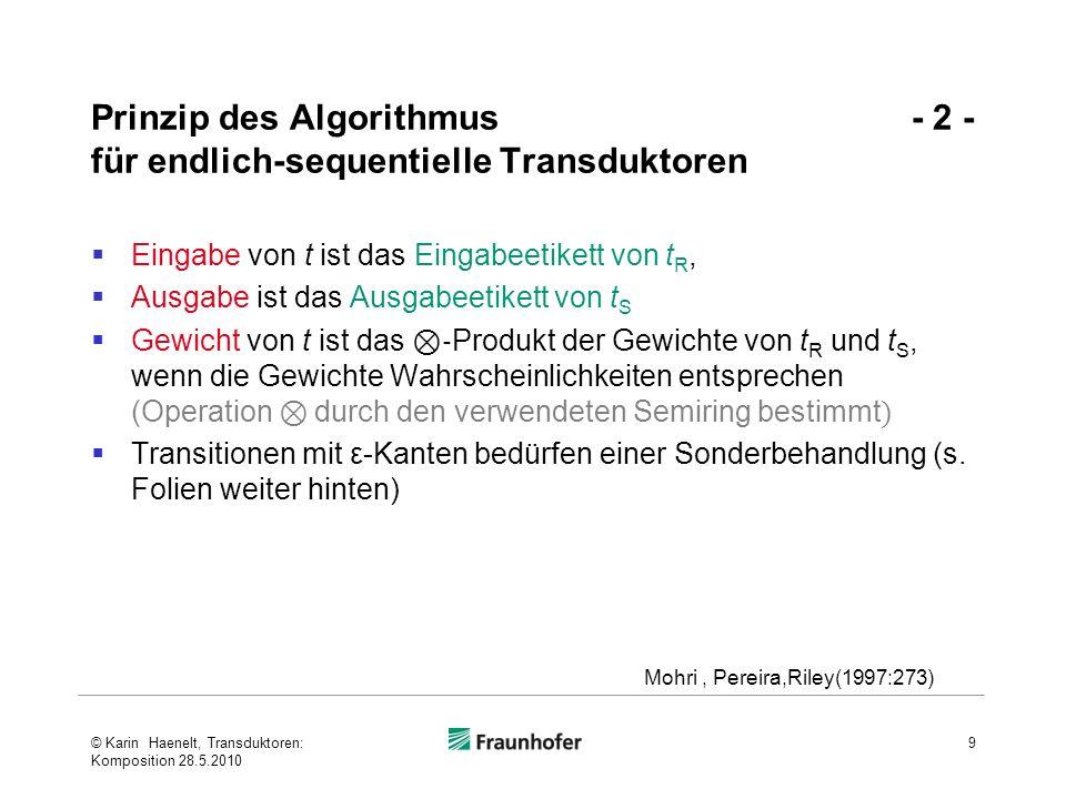 Prinzip des Algorithmus - 2 - für endlich-sequentielle Transduktoren