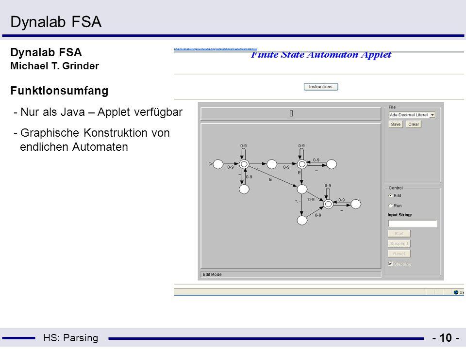 Dynalab FSA Dynalab FSA Michael T. Grinder Funktionsumfang