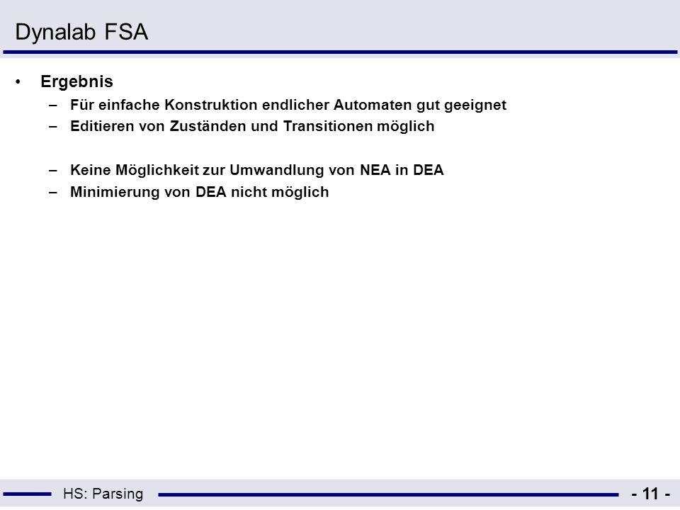 Dynalab FSA Ergebnis. Für einfache Konstruktion endlicher Automaten gut geeignet. Editieren von Zuständen und Transitionen möglich.