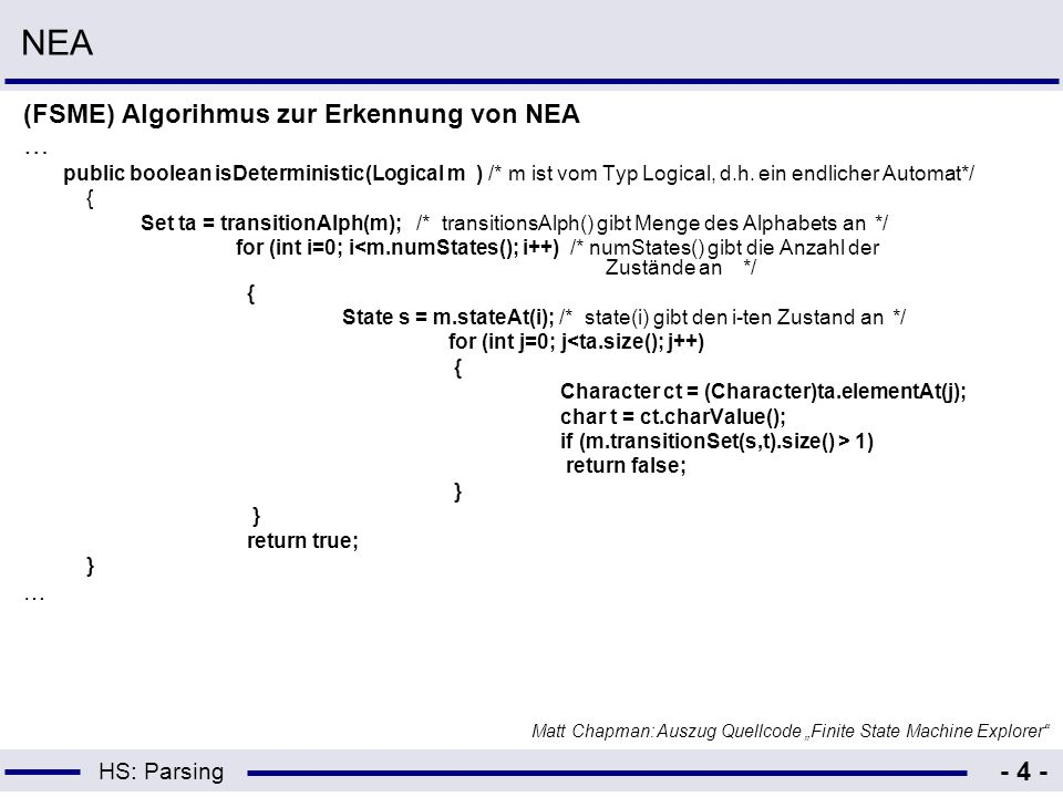 NEA (FSME) Algorihmus zur Erkennung von NEA …