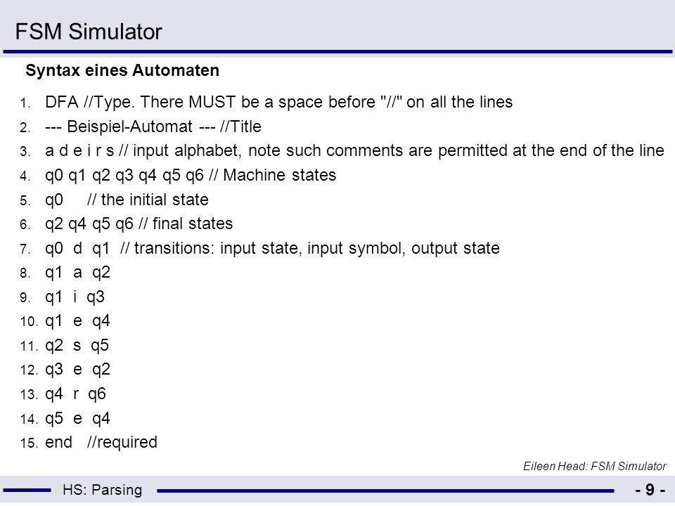 FSM Simulator Syntax eines Automaten