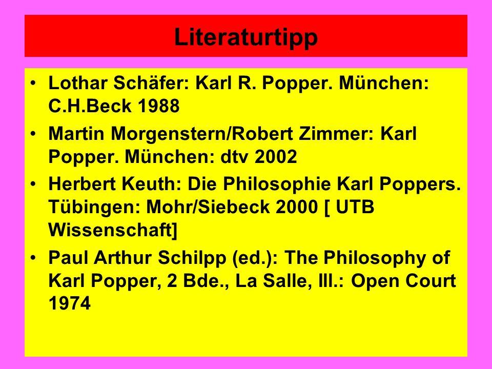 Literaturtipp Lothar Schäfer: Karl R. Popper. München: C.H.Beck 1988