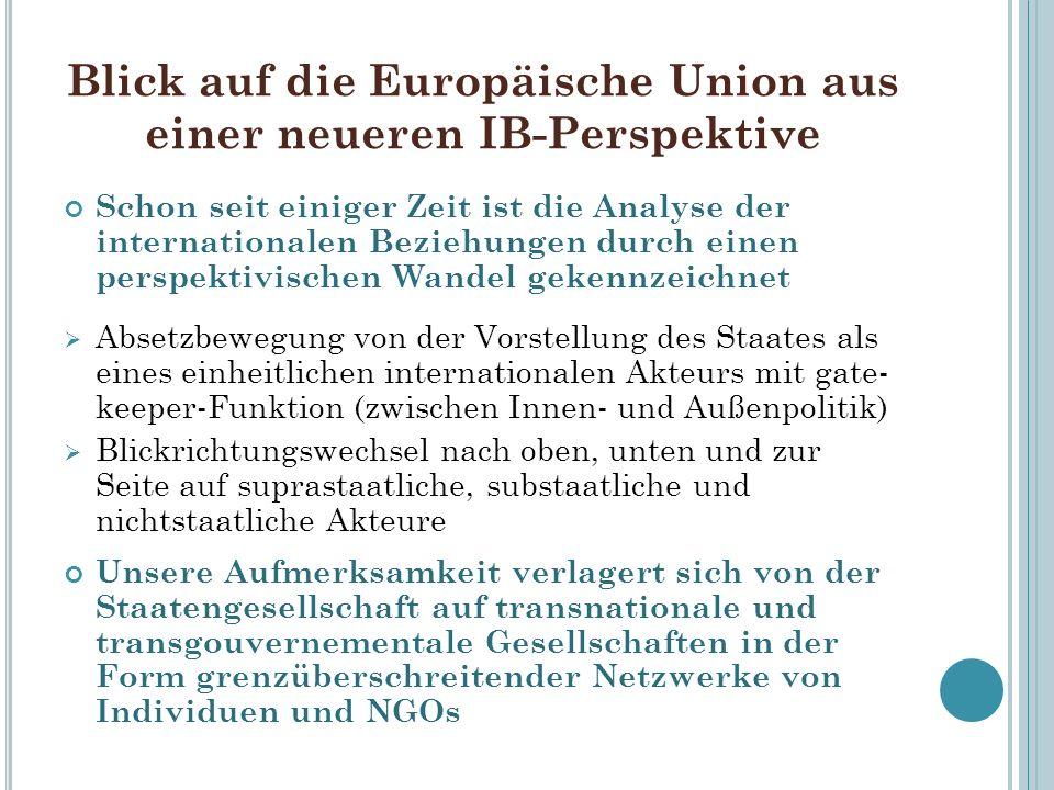 Blick auf die Europäische Union aus einer neueren IB-Perspektive