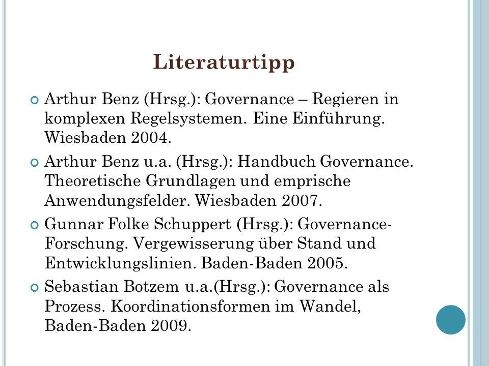 Literaturtipp Arthur Benz (Hrsg.): Governance – Regieren in komplexen Regelsystemen. Eine Einführung. Wiesbaden 2004.
