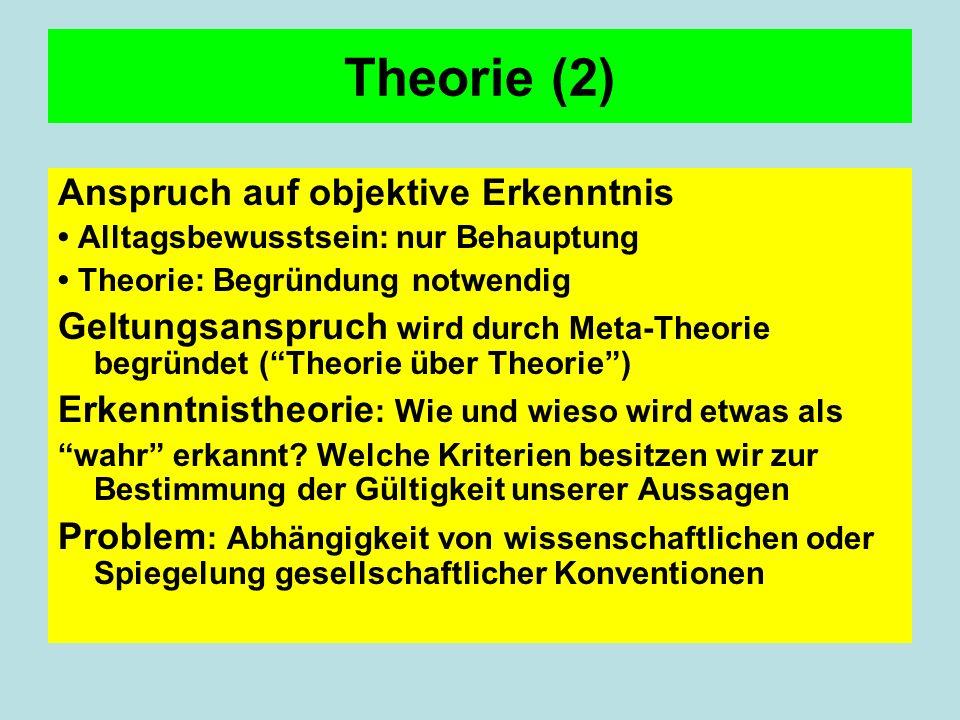 Theorie (2) Anspruch auf objektive Erkenntnis