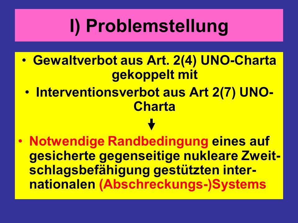 I) Problemstellung Gewaltverbot aus Art. 2(4) UNO-Charta gekoppelt mit