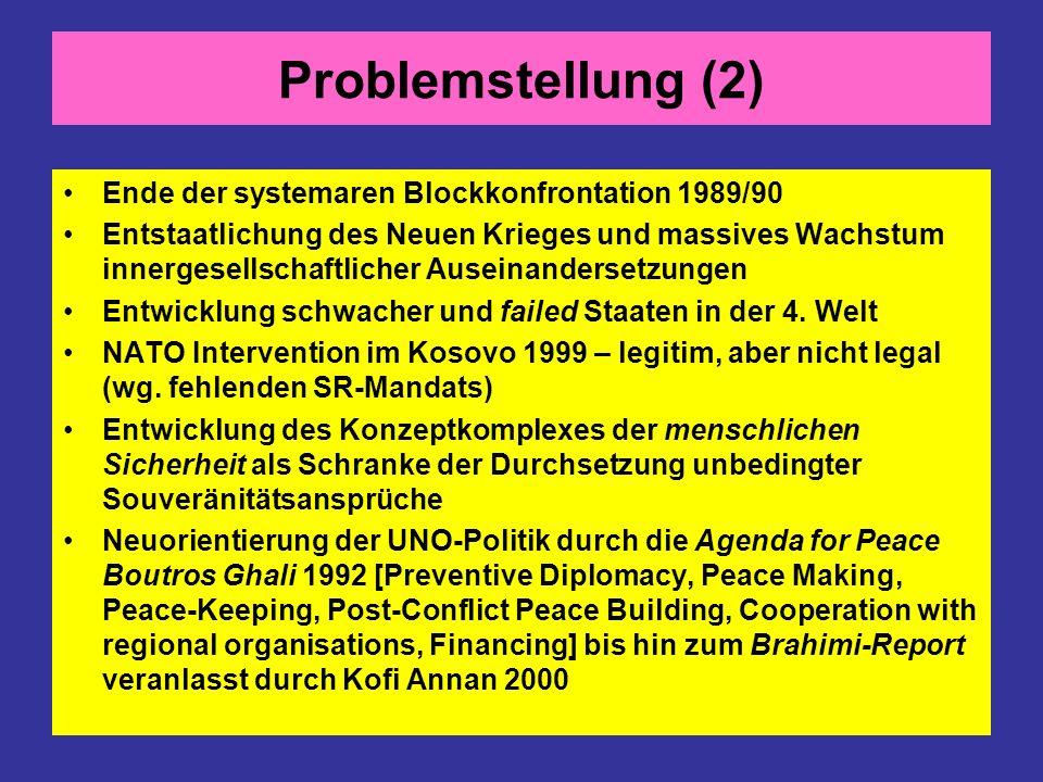 Problemstellung (2) Ende der systemaren Blockkonfrontation 1989/90