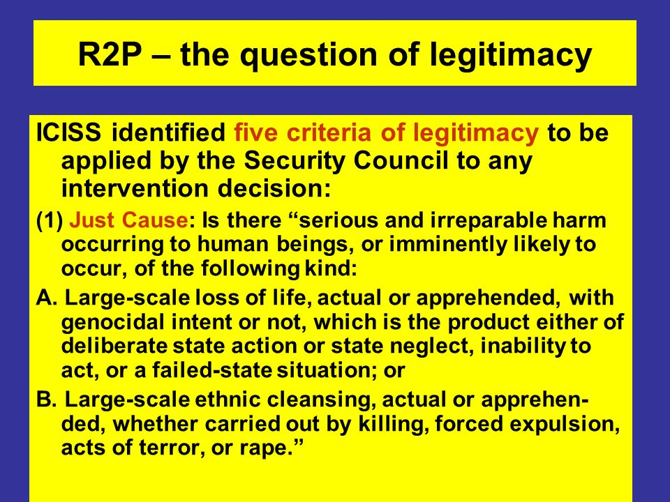 R2P – the question of legitimacy