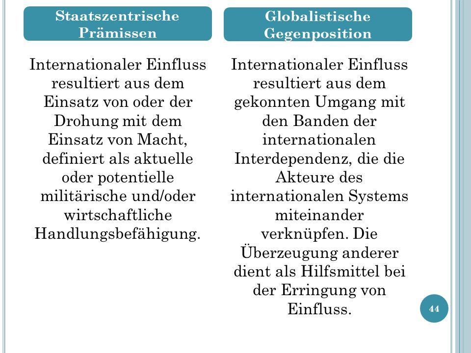 Staatszentrische Prämissen Globalistische Gegenposition