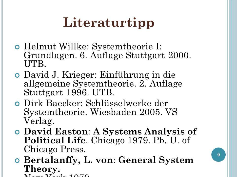 Literaturtipp Helmut Willke: Systemtheorie I: Grundlagen. 6. Auflage Stuttgart 2000. UTB.