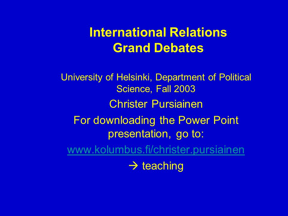 Perelmans Argumentation Theory And International Relations Philosophy Essay