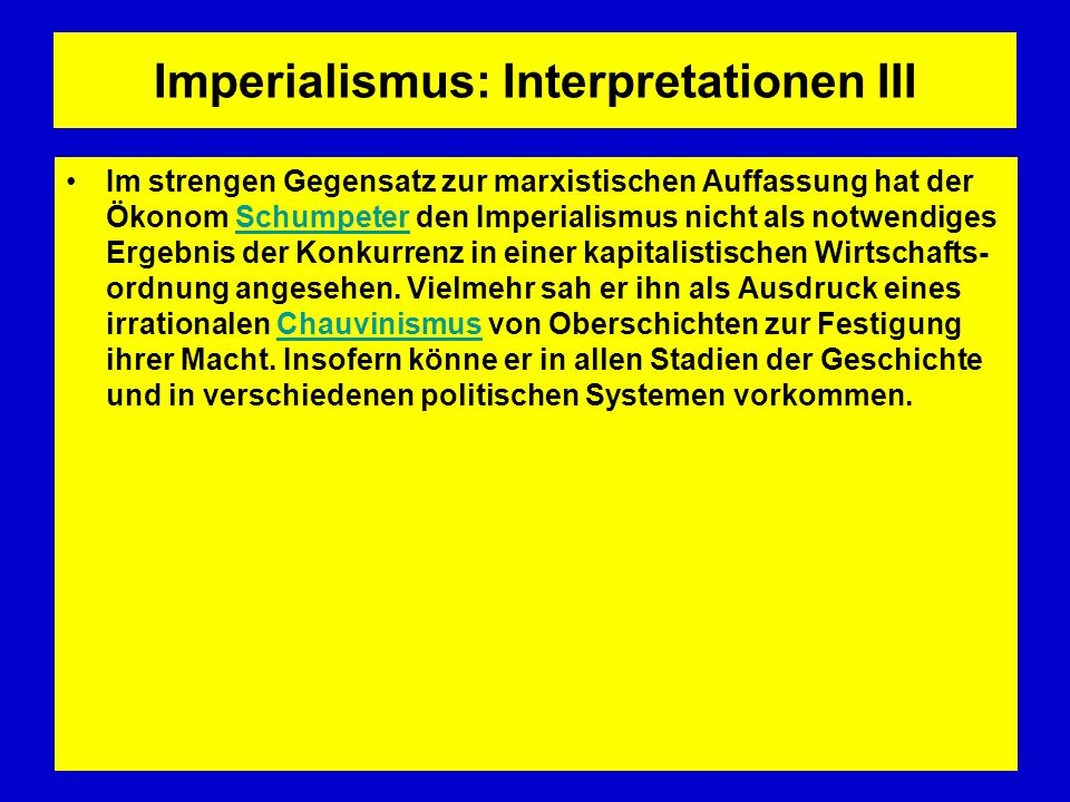 Imperialismus: Interpretationen III