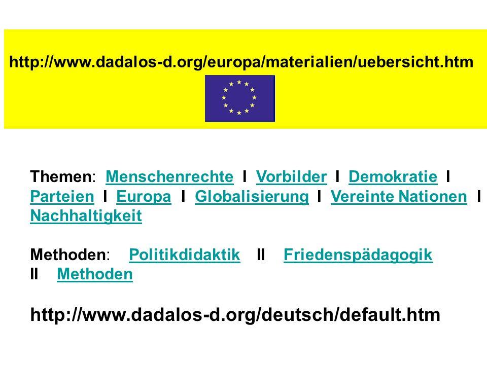 http://www.dadalos-d.org/europa/materialien/uebersicht.htm Themen: Menschenrechte I Vorbilder I Demokratie I