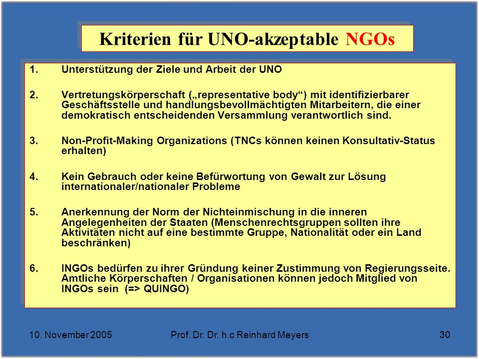 Kriterien für UNO-akzeptable NGOs