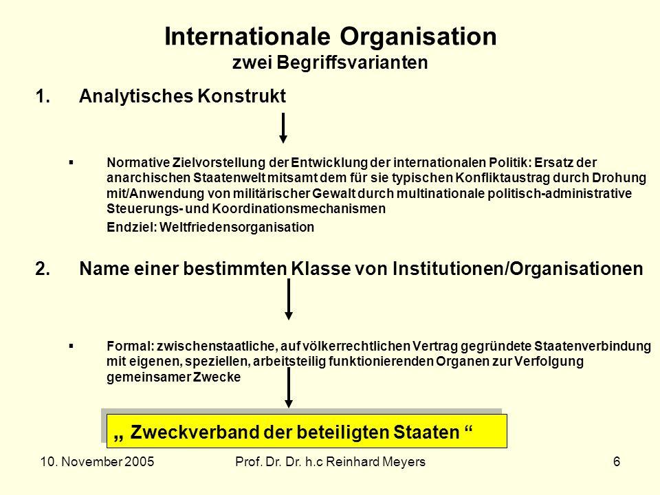 Internationale Organisation zwei Begriffsvarianten