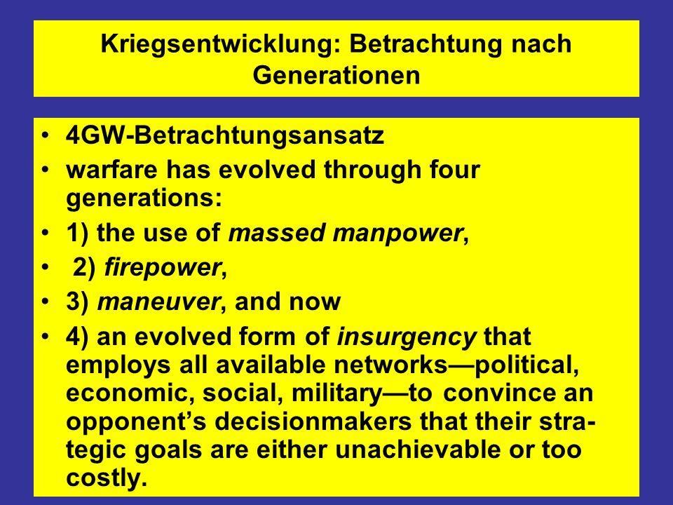 Kriegsentwicklung: Betrachtung nach Generationen