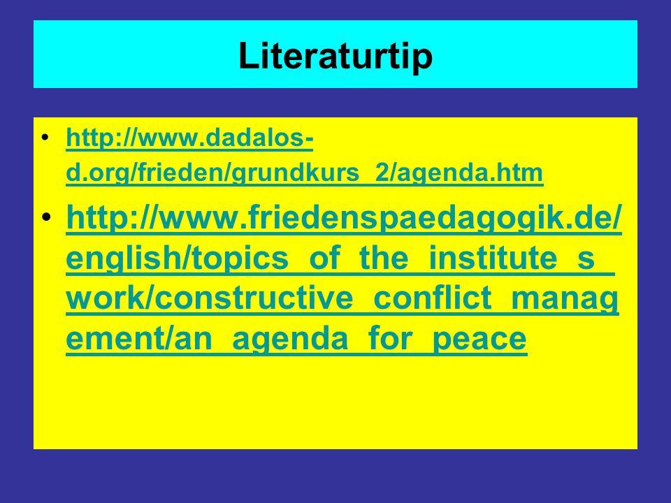 Literaturtip http://www.dadalos-d.org/frieden/grundkurs_2/agenda.htm.