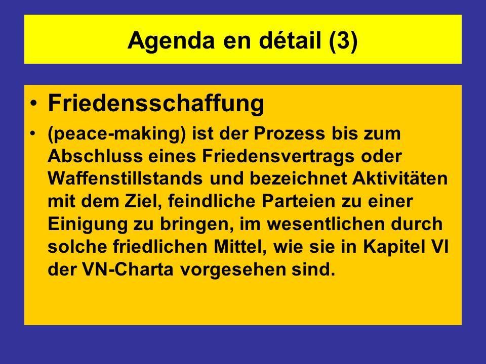Agenda en détail (3) Friedensschaffung