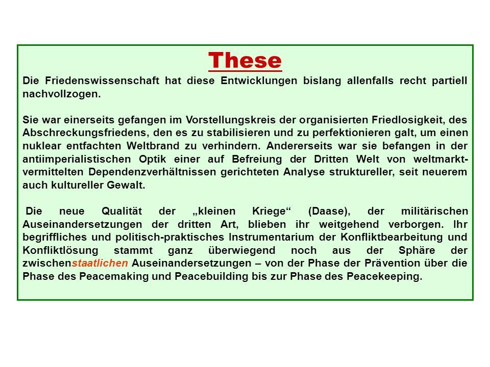 These Die Friedenswissenschaft hat diese Entwicklungen bislang allenfalls recht partiell nachvollzogen.