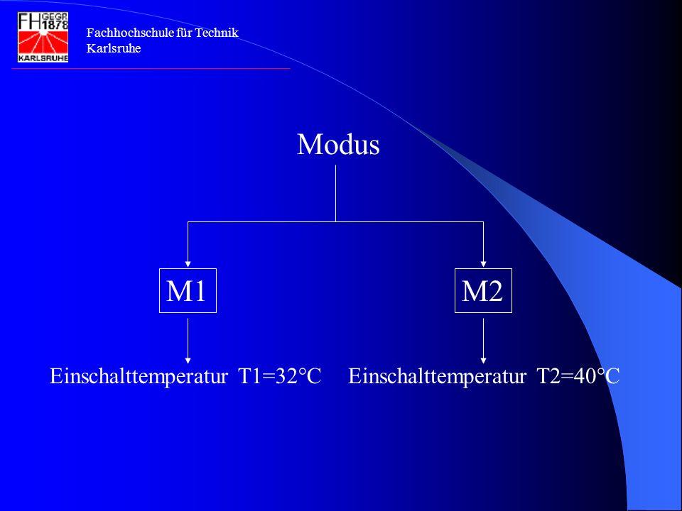 Modus Einschalttemperatur T1=32°C Einschalttemperatur T2=40°C M1 M2