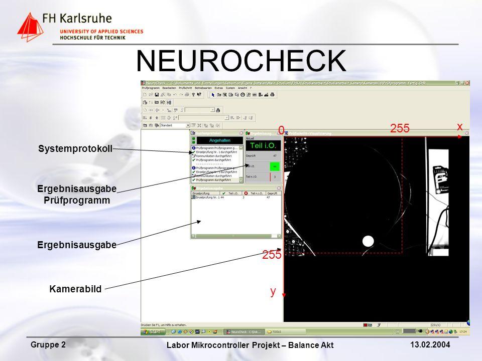 NEUROCHECK x 255 255 y Systemprotokoll Ergebnisausgabe Prüfprogramm