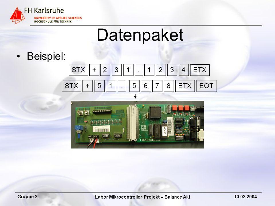 Datenpaket Beispiel: STX + 2 3 1 . 1 2 3 4 ETX STX + 5 1 . 5 6 7 8 ETX