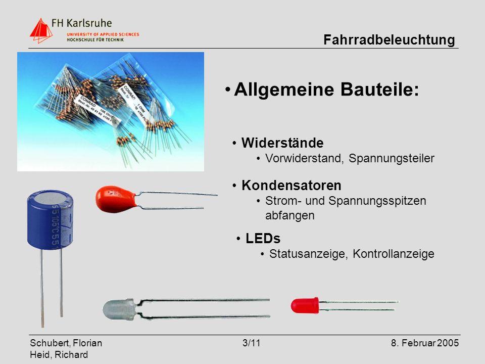 Allgemeine Bauteile: Widerstände Kondensatoren LEDs