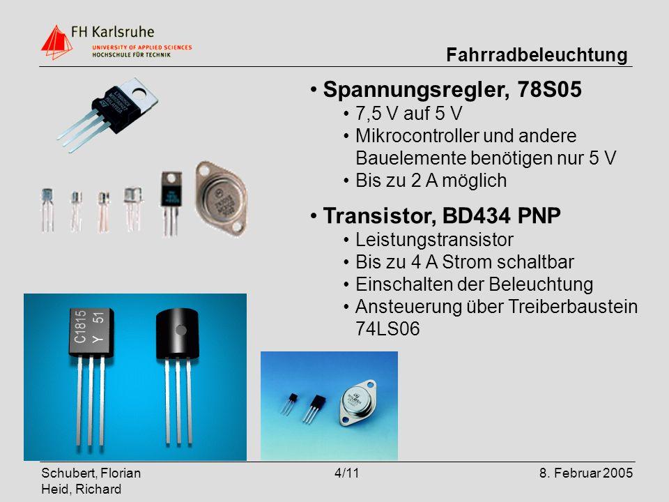 Spannungsregler, 78S05 Transistor, BD434 PNP 7,5 V auf 5 V