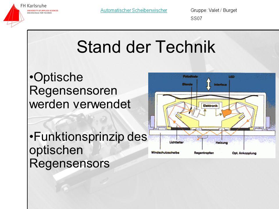 Stand der Technik Optische Regensensoren werden verwendet