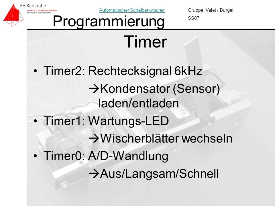 Timer Programmierung Timer2: Rechtecksignal 6kHz