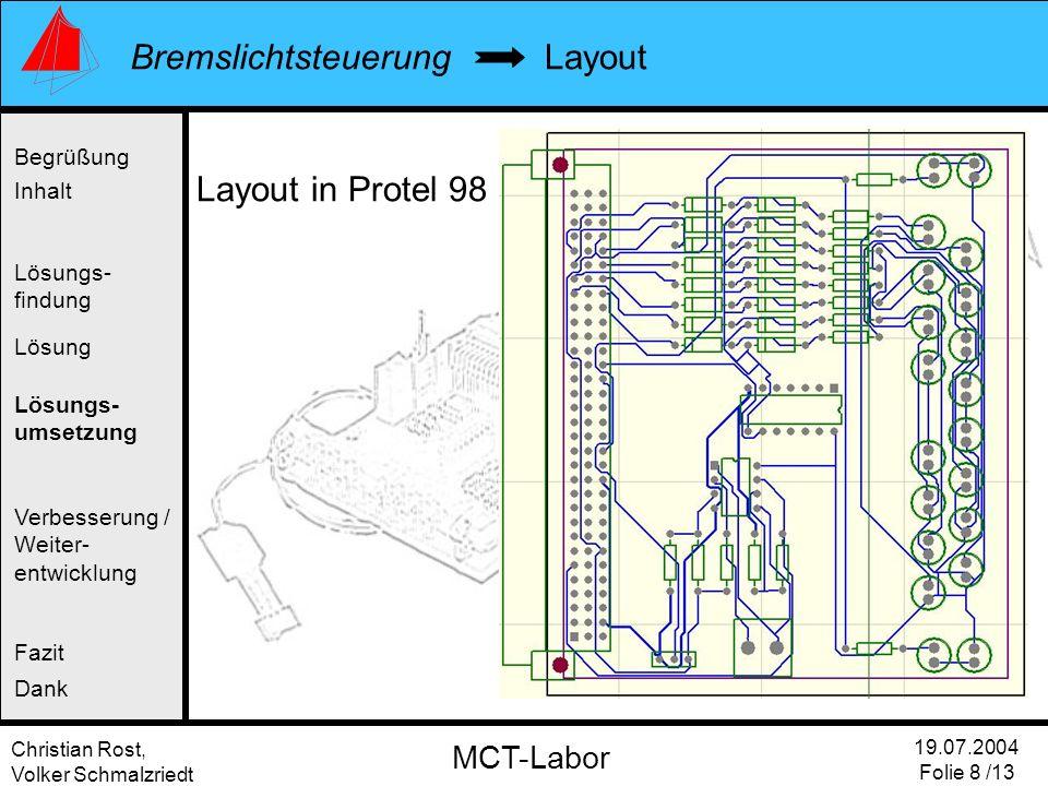 Layout Layout in Protel 98 Begrüßung Inhalt Lösungs- findung Lösung