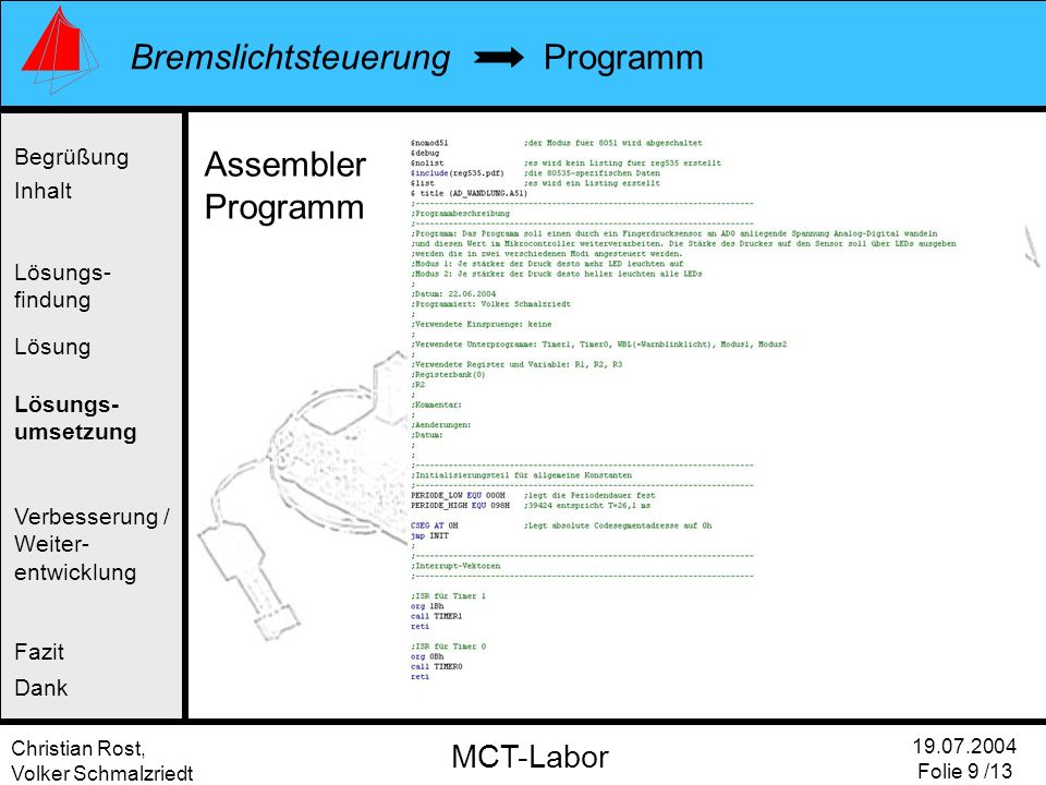 Programm Assembler Programm Begrüßung Inhalt Lösungs- findung Lösung