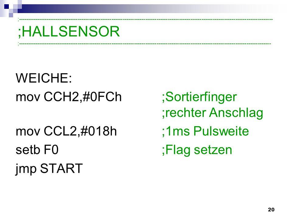 mov CCH2,#0FCh ;Sortierfinger ;rechter Anschlag