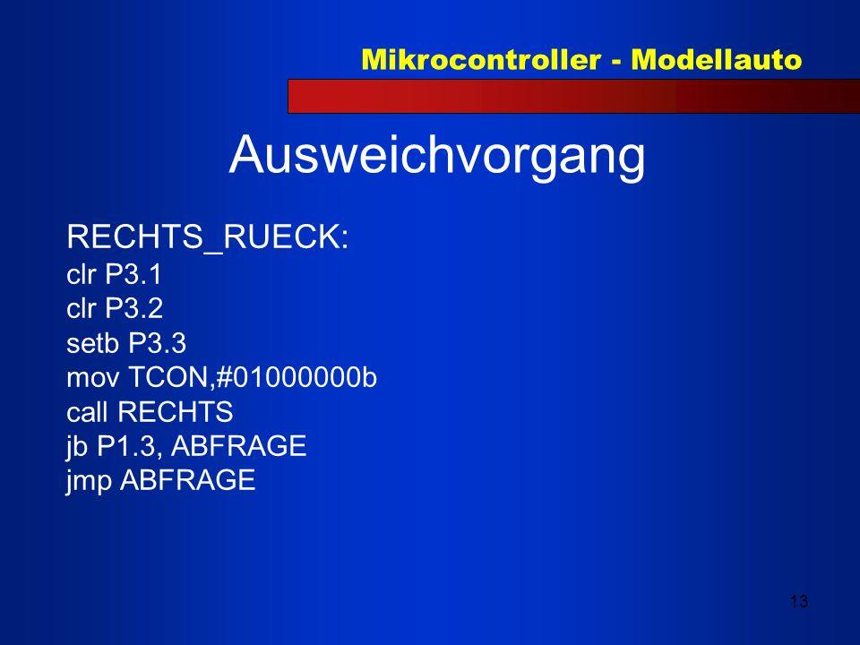Ausweichvorgang RECHTS_RUECK: clr P3.1 clr P3.2 setb P3.3