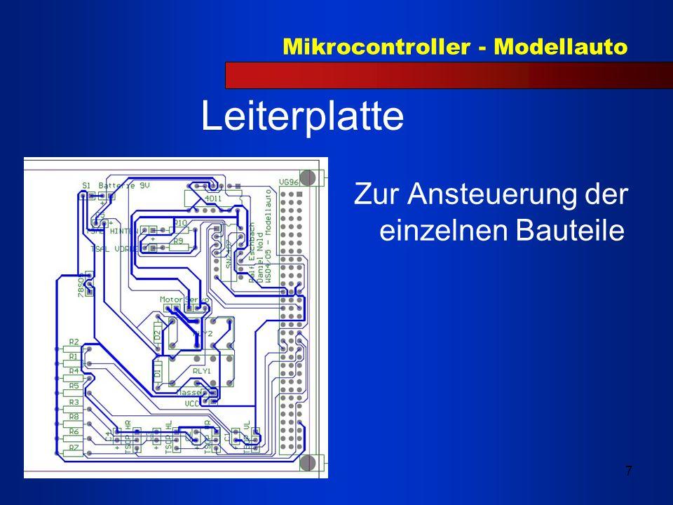 Leiterplatte Zur Ansteuerung der einzelnen Bauteile