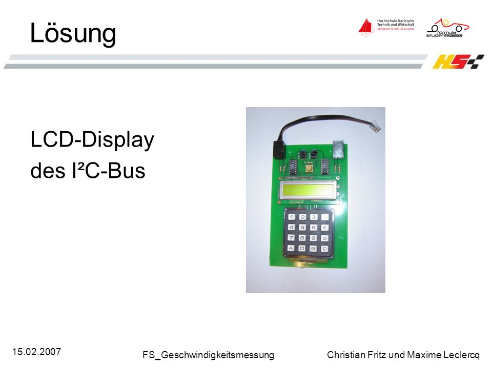 Lösung LCD-Display des I²C-Bus