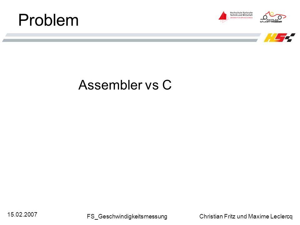 Problem Assembler vs C