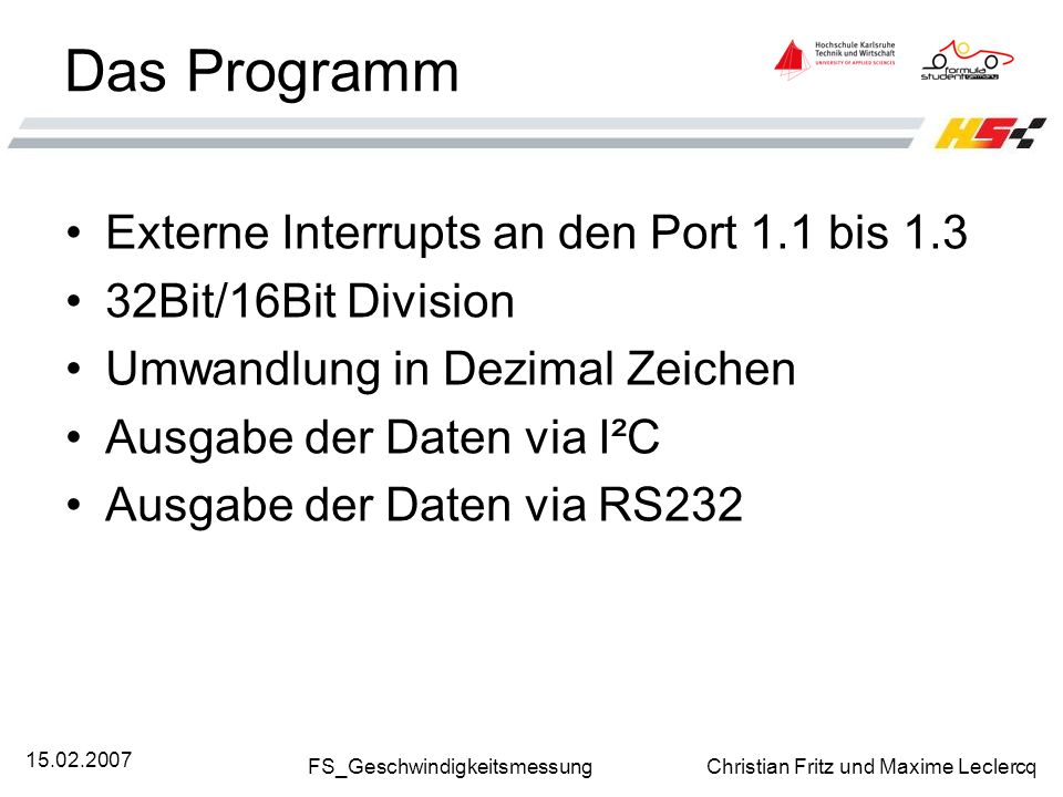 Das Programm Externe Interrupts an den Port 1.1 bis 1.3