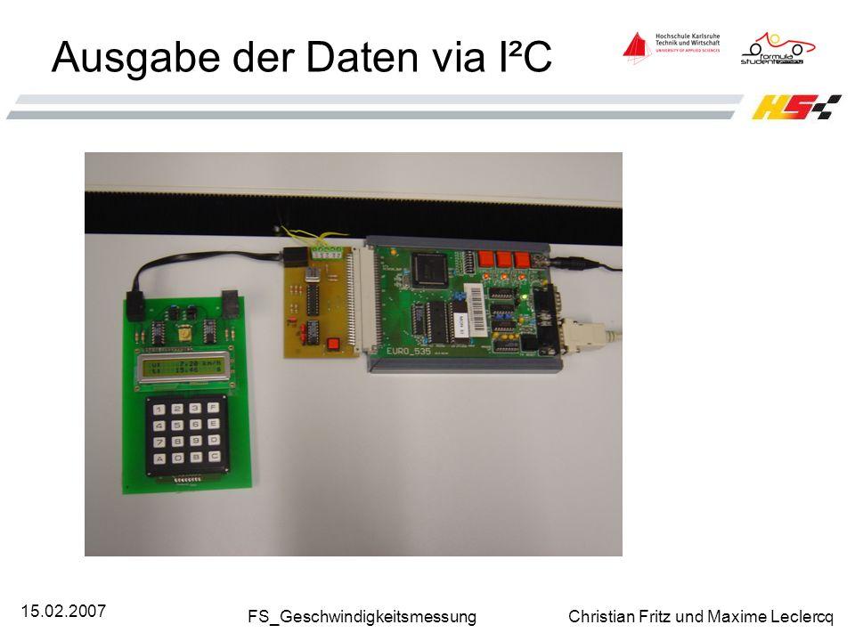 Ausgabe der Daten via I²C