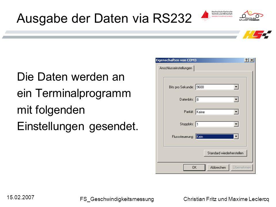 Ausgabe der Daten via RS232