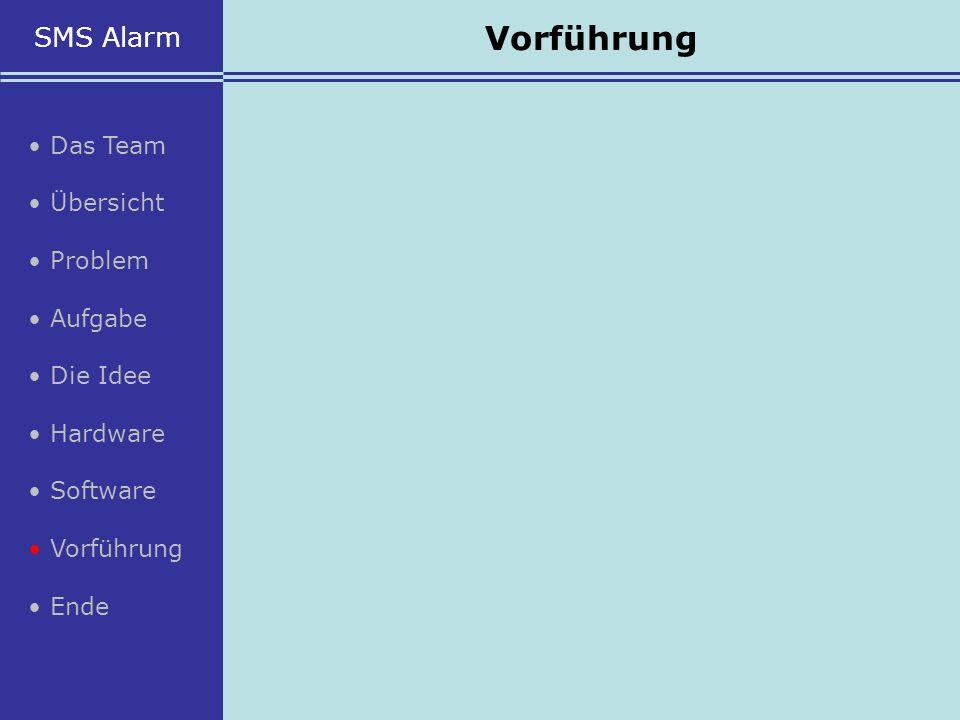 Vorführung SMS Alarm • Das Team • Übersicht • Problem • Aufgabe