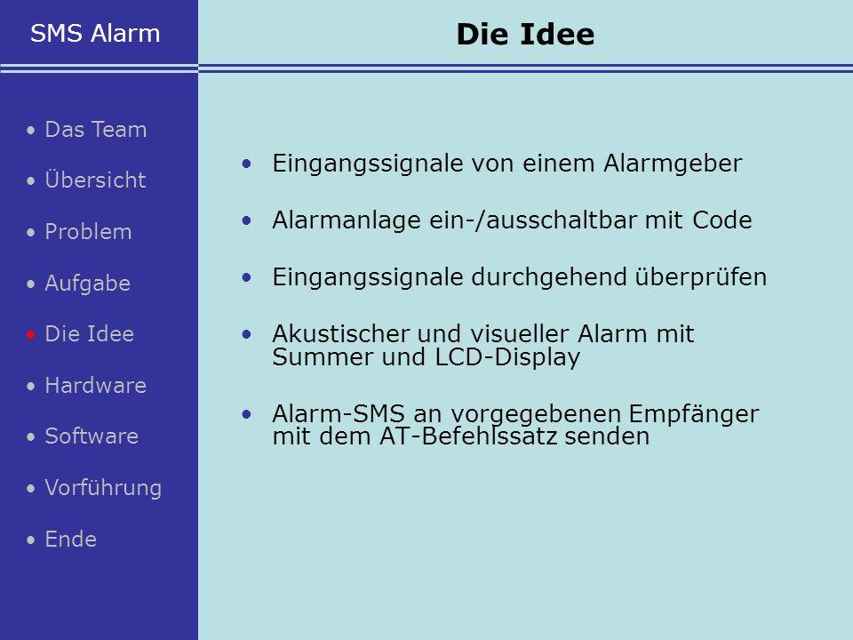 Die Idee SMS Alarm • Eingangssignale von einem Alarmgeber