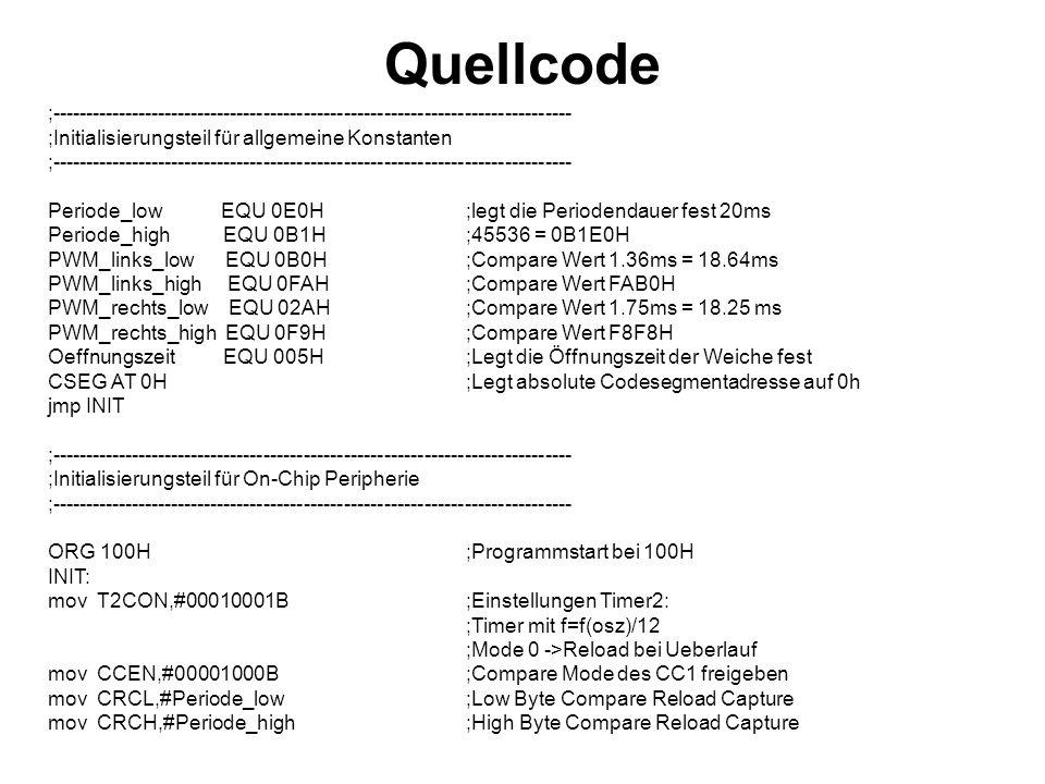 Quellcode ;------------------------------------------------------------------------------ ;Initialisierungsteil für allgemeine Konstanten.
